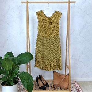Eva Franco Yellow Dot Twist Ruffle Silk Dress